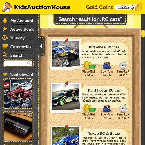 Kids' auction house app design
