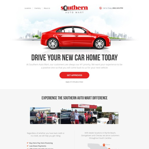Landing page for car dealer