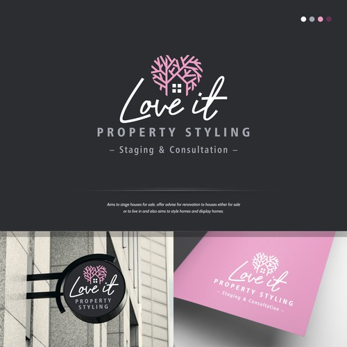 Classy and modern looking Logo Concept for Love It Property Styling