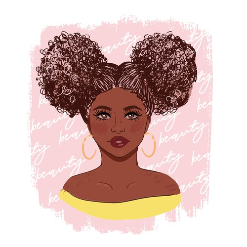 Apparel design with afro girl