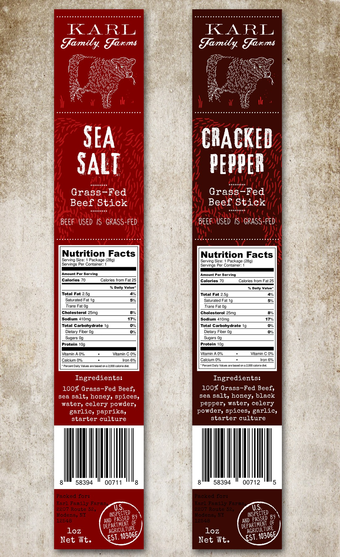 Grass-Fed Beef Stick label for new product line
