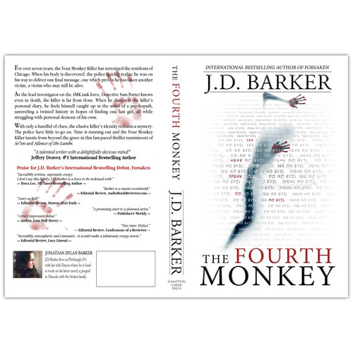 Create the cover for J.D. Barker's latest thriller, THE FOURTH MONKEY!