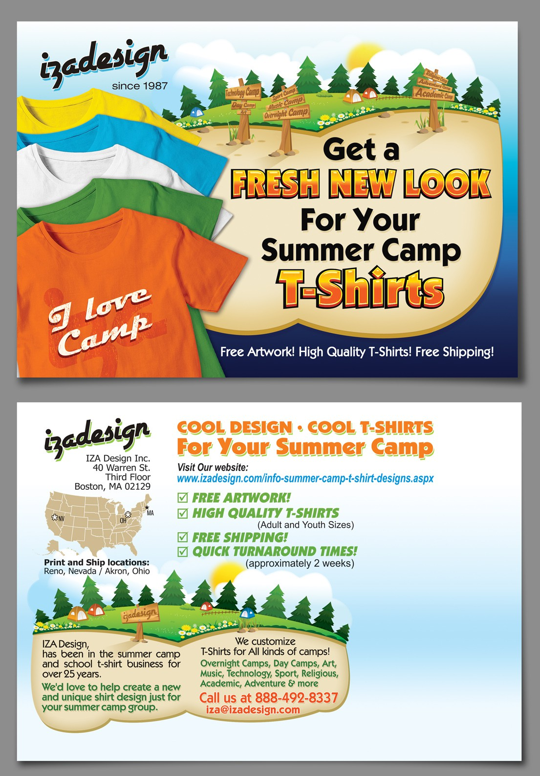 Need Fresh and New Postcard Design for Summer Camp T-Shirt Company