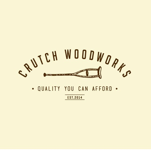 Create a logo for Crutch Woodworks using a crutch.