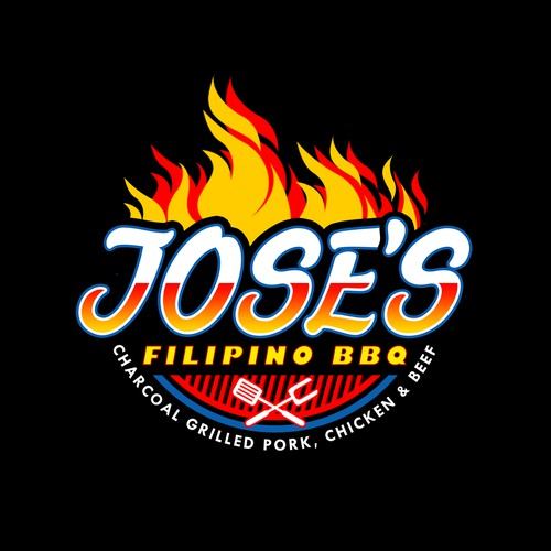Jose's Filipino BBQ Flaming Logo Design