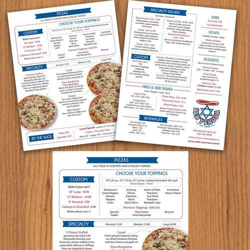 Clean and easy to use pizzeria menu