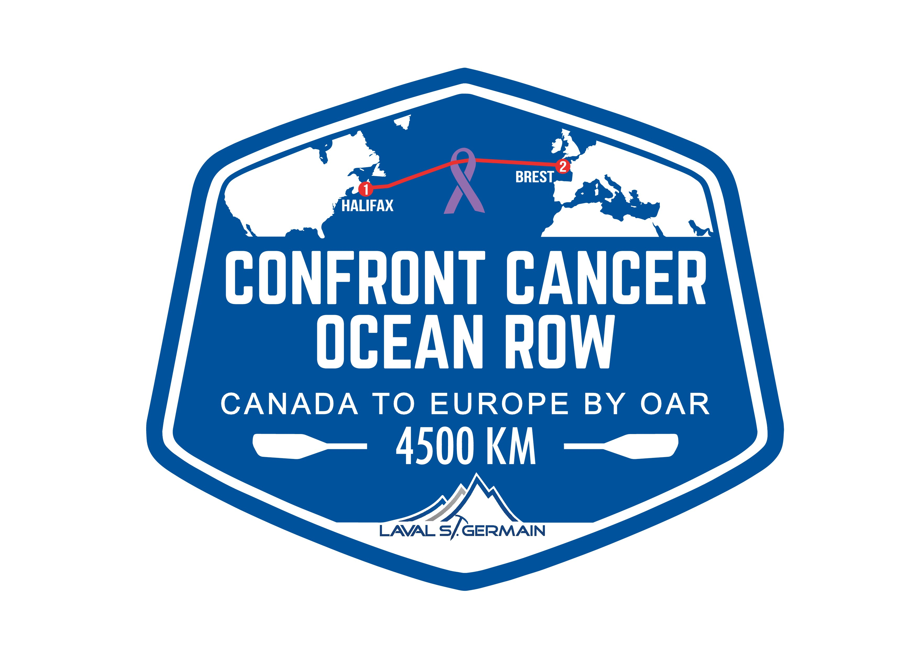 Create a hard hitting logo for a solo ocean rower crossing the Atlantic from Canada to Europe.