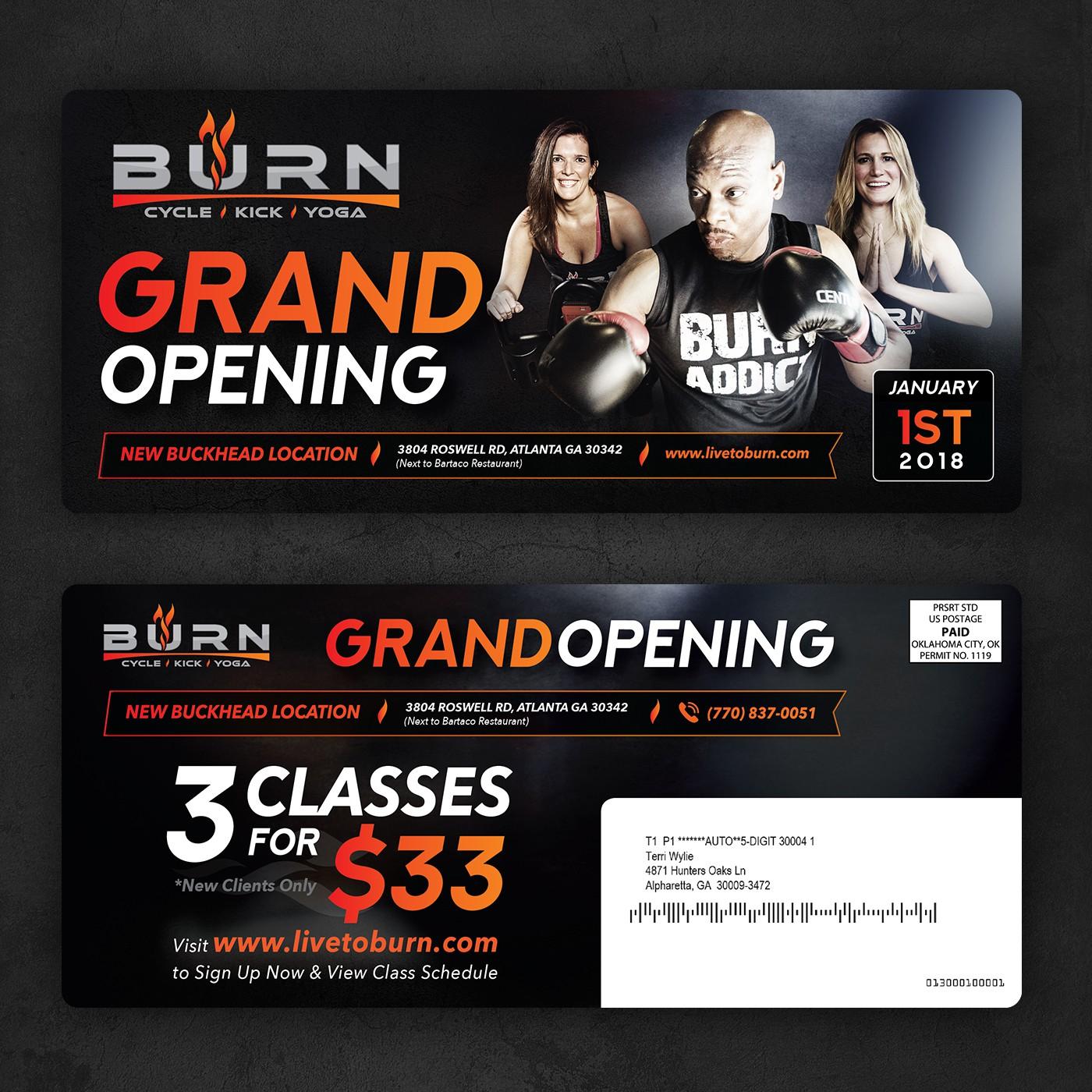 Grand Opening Postcard for BURN Fitness Studio
