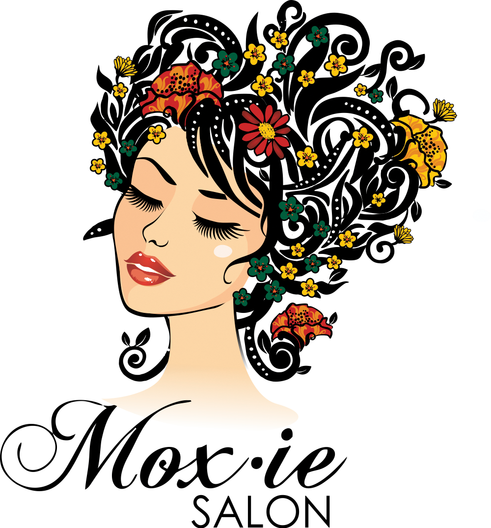 Create a vintage detailed hairstyling illustration for Moxie Salon
