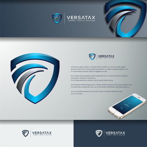3d shield logo design for VERSATAX