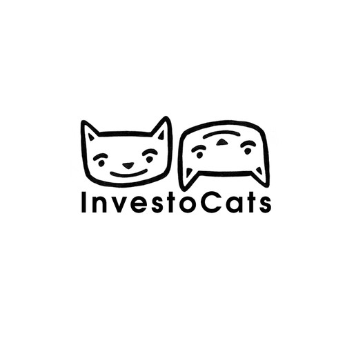 Create a logo with two illustrated cat heads