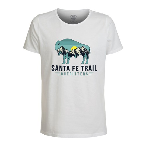 Buffalo T-shirts Design with Santa Fe Trial Mountain