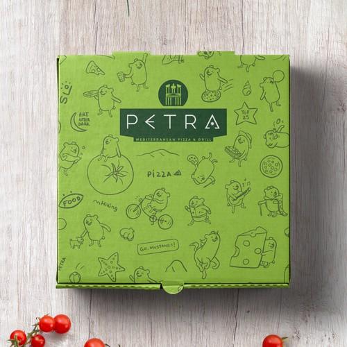 Illustrated pizza box
