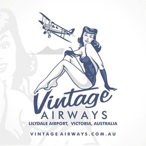 Vintage Pin-Up Gal for a private plane tour operator
