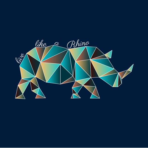 Rhino illustration for pillow design