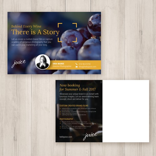Postcard Design - Winery Photography Service