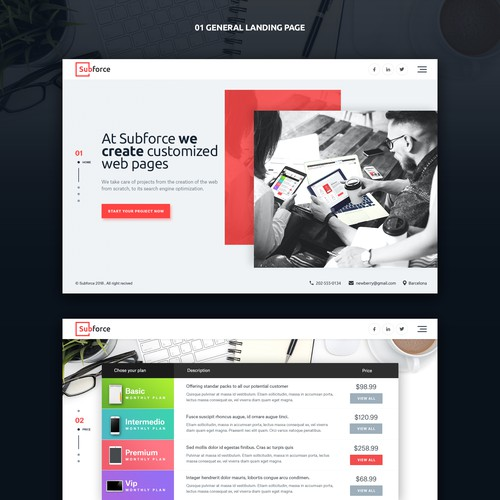 Design for 5 landing pages