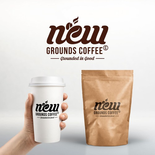 Negative space concept logo for New Grounds Coffee.