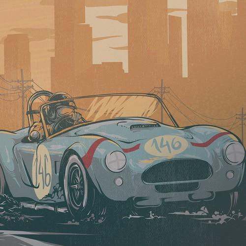 Vintage automotive poster