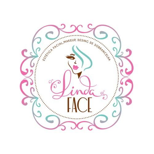 um logo com ilustração vintage,que contenha meia face para uma clinica de estética facial