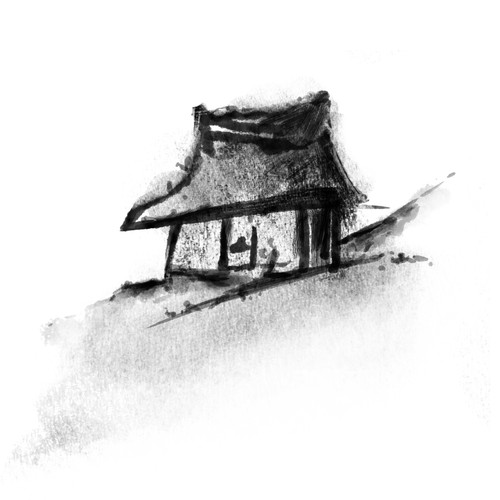 Grass Hut Charcoal Illustration