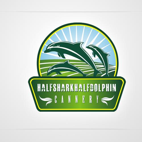 logo for halfsharfkhalfdolphin cannery