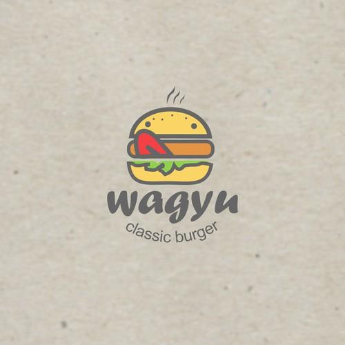 Delicious logo concept for wagyu burger