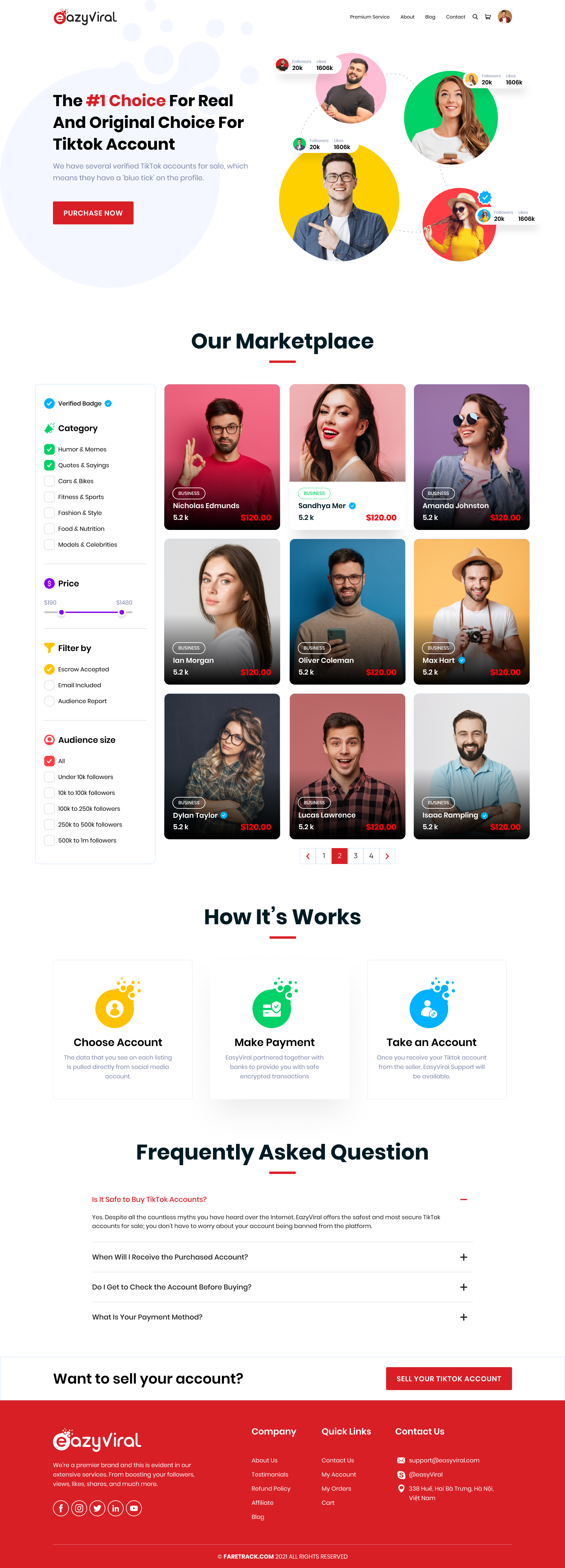 Design Shop page and Product page for Selling TikTok account