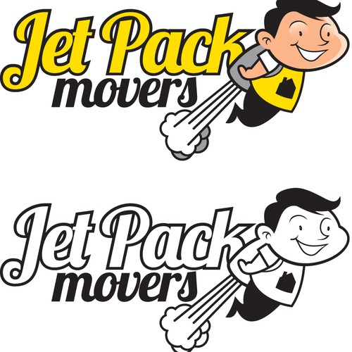 "Logo/Character design for ""Jet Pack Movers""... Retro, Fun, Cartoon style... think The Jetsons"