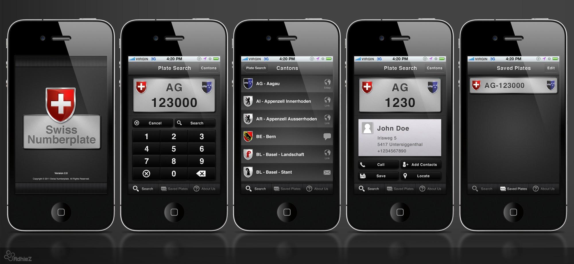 app design for Swiss Licenseplate