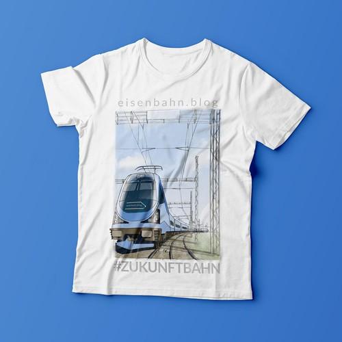 Railway poster-like illustration for t-shirt