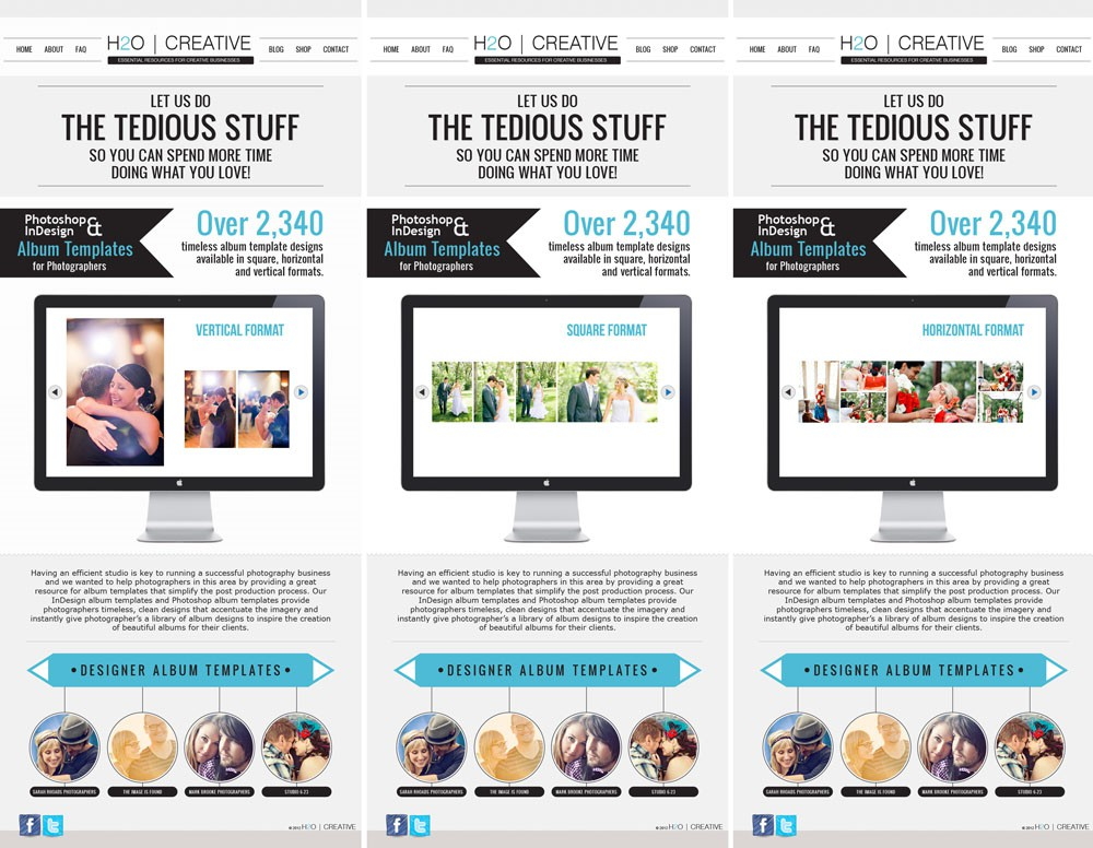"H2O Creative needs a new ""infographic"" style one page website design"