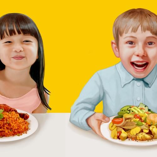 Realistic illustration, children eating,