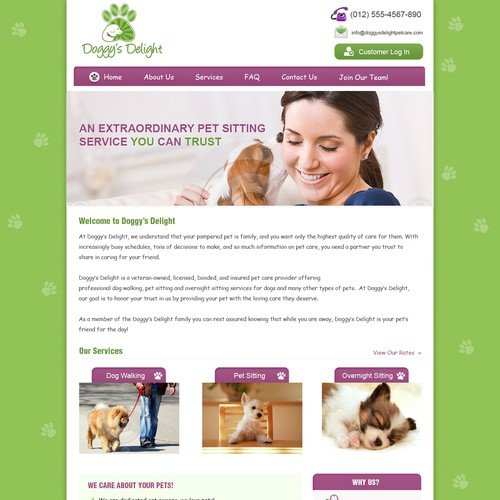 website design for Doggy's Delight pet care service