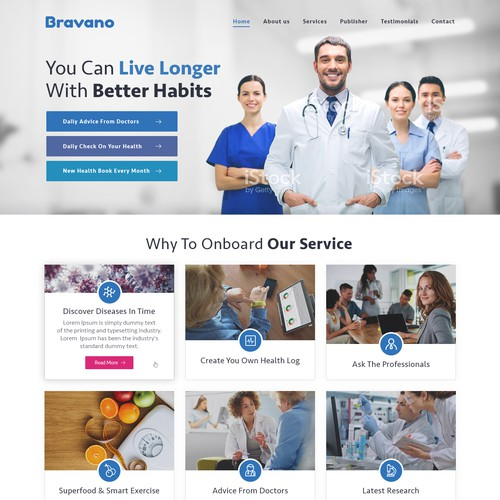 Landing Page of Health Website