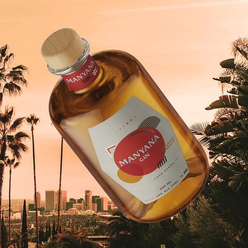 "Gin ""Manyana"" label design in modern retro style."