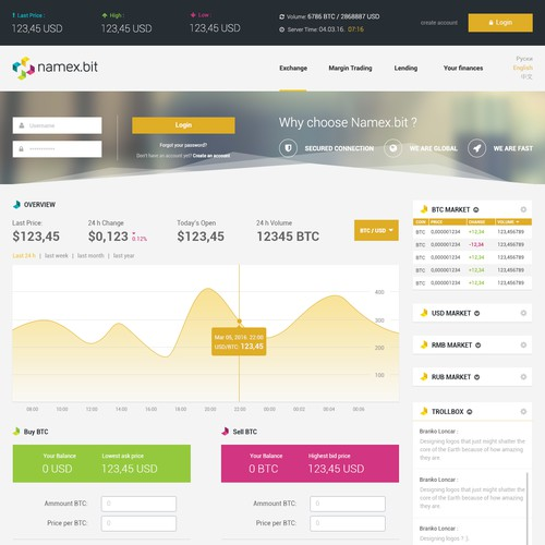 Modern web design for crypto-currency platform