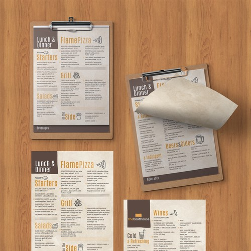 Contemporary, upscale yet fun clipboard menu