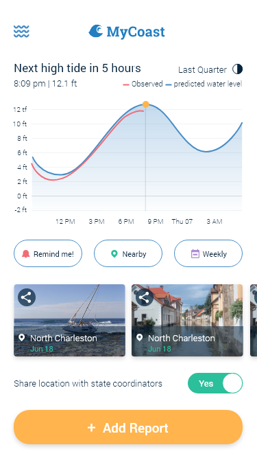 """Create a new look for """"citizen science"""" coastal incident reporting app"""