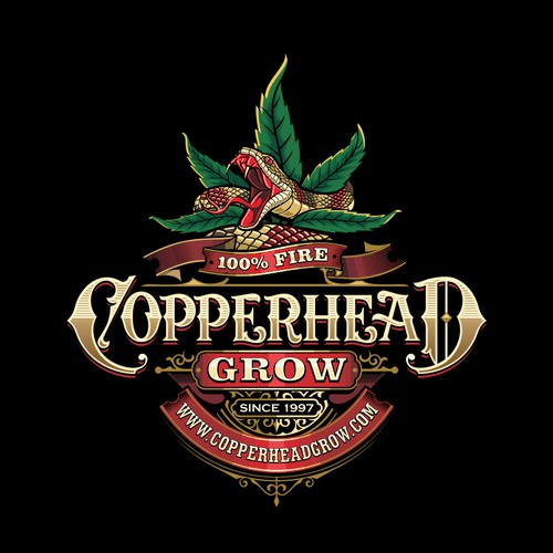 Illustative logo/label design for Copperhead Grow
