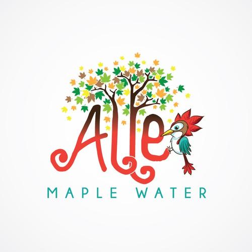 Create a young, fun, playful maple water logo (cartoon trees, bird, and text)
