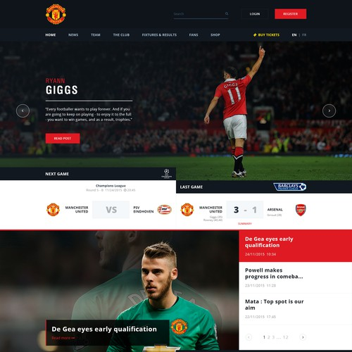 Football/soccer club homepage design