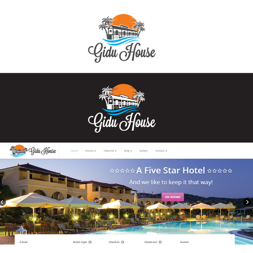 logo for five stars hotel gidu house