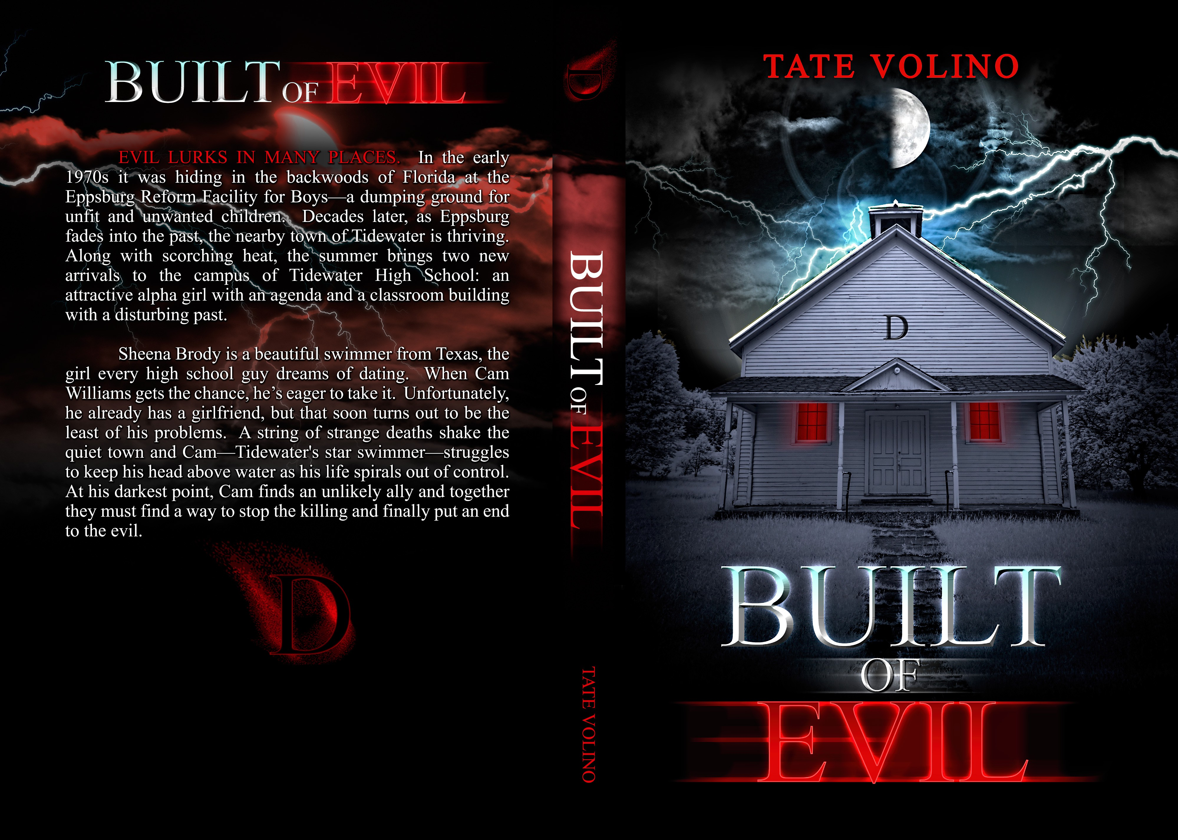 Build an evil book cover for my book: Built of Evil