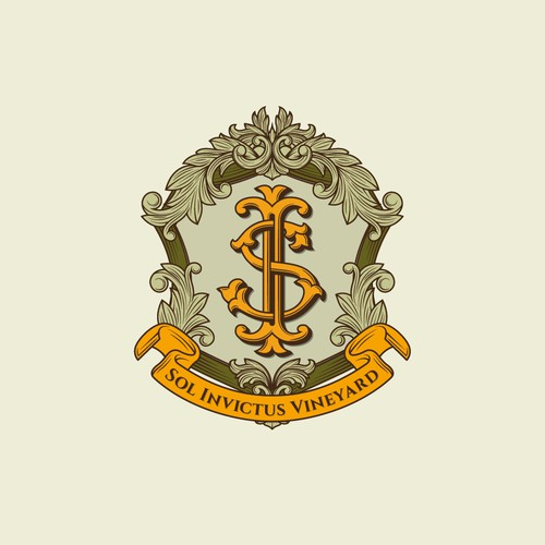 Classic crest logo design for Sol Invictus Vineyard