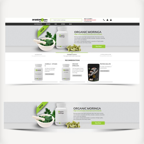 Homepage Visual for a Supplement Food Product