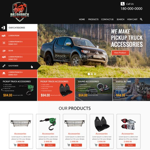 Create an amazing web presence for Razorback Truck Gear.