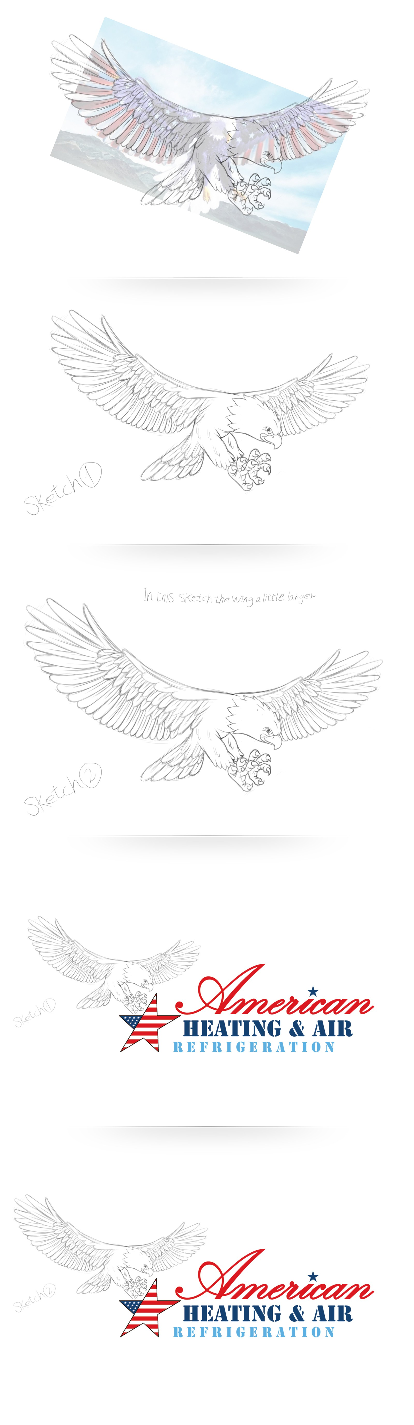 Create a Fun Logo of an Eagle for a Heating & Air Conditioning Company