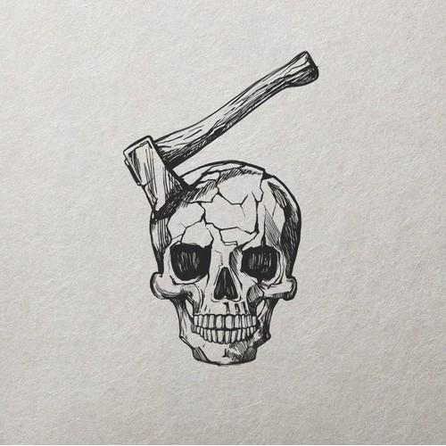 Skull and Axe Tattoo