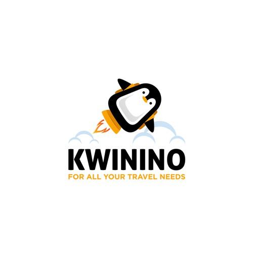 penguins and rocket logo for KWININO logo design